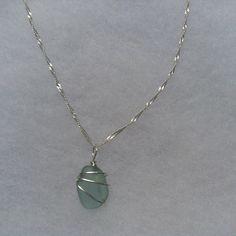 Beautiful Aqua Beach Glass Necklace by TreasuresFromTheLake