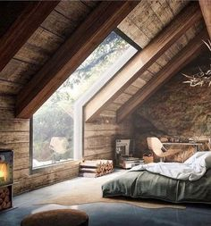 Modern Rustic Master Bedroom Design Ideas Do you like a rustic bedroom? We think that it is not something bad when you have a plan to . Rustic Master Bedroom Design, Modern Rustic Bedrooms, Attic Bedroom Designs, Modern Farmhouse Decor, Bedroom Loft, Attic Loft, Bedroom Rustic, Outdoor Bedroom, Comfy Bedroom