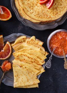 Buy Pancakes with jam of red oranges by prosto_juli on PhotoDune. Pancakes with jam of red oranges Pancakes, Waffles, Crepes, Breakfast Lunch Dinner, Food Crafts, Food Photo, Food And Drink, Yummy Food, Sweets