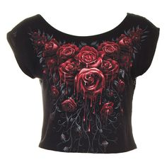 Spiral Direct Blood Rose Crop Top (Black)