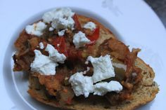 Tomato and Eggplant Bruschetta with goat cheese, straight from the garden! | Food, Garden, Family and Friends