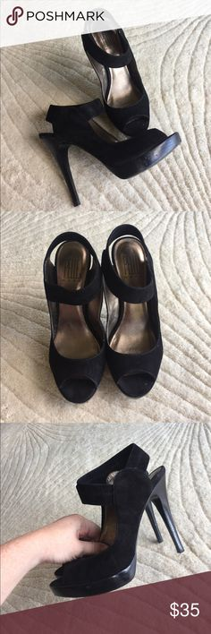 PELLE MODA Issa black suede heels Gorgeous! Bottoms show wear but suede in great condition! Beautiful shoes and very comfortable! Small platform. Band around ankle is stretchy and forms to your foot! Size 8. Pelle Moda Shoes Heels