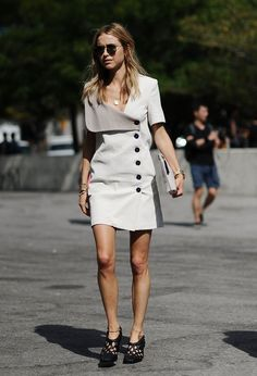 Pin for Later: Updated! The Best Street Style From New York Fashion Week New York Fashion Week, Day 5 Pernille Teisbaek wearing a J.W Anderson white dress Fashion Week, New York Fashion, Star Fashion, Look Fashion, Womens Fashion, Fashion Design, Minimalistic Style, Chic Outfits, Fashion Outfits