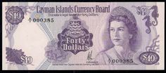 Cayman Islands banknotes 40 Dollars banknote of 1974, issued by the Cayman Islands Currency Board. This note is legal tender for Forty Dollars. Obverse: Portrait of Her Majesty Queen Elizabeth II wearing Queen Alexandra's Kokoshnik Tiara, the King George VI Festoon Necklace, and Queen Mary's Floret Earrings. Cayman Islands Coat of Arms and Motto, Pirate treasure chest with the lid open brimming with gold coins, Two Seahorses, seashell. Reverse: Cayman Pirates Week Festival.