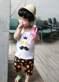 Neon Moustache Print Tank and Shorts for boys 2-7. Also in neon green at Color Me WHIMSY.