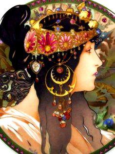 Art Nouveau Detail Alphonse Mucha
