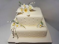 Calla+Lily+Wedding+Cakes | Calla Lily and Butterfly Orchid White Chocolate mud Wedding cake. Hand ...