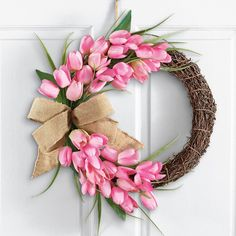 "NEW 16""D PINK ROSE FLORAL DOOR WREATH WELCOME WALL ART w/ BURLAP BOW SPRING  #Unbranded"