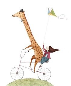 by Amy Adele - professional children's illustrator Bicycle Illustration, Children's Book Illustration, Art Drawings For Kids, Art For Kids, Adele Child, Bicycle Art, Animal Sketches, Illustrations And Posters, Whimsical Art