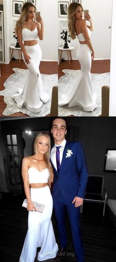 White Prom Dresses, Two Piece Prom Dresses, Long Prom Dresses 2018, Trumpet/Mermaid Prom Dresses For Teens, Sweetheart Prom Dresses Satin Modest