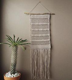 Five-Panel Grey Crochet Wall Hanging