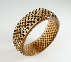 """Vintage Chunky Wide Honey Amber Lucite Yellow Glass Crystal Rhinestone Bangle Bracelet #Lucite Pinterest exclusive #discount    Use #coupon code """"PIN20"""" at checkout to receive 20% off your total purchase at #cherryorchardattic (https://www.etsy.com/shop/cherryorchardattic) on #Etsy"""