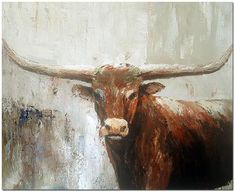 animal art projects - Hand Painted Abstract Texas Longhorn Oil Painting On Canvas Contemporary Animal Art Thick Paint Te Bull Painting, Oil Painting Abstract, Texture Painting, Paint Texture, Acrylic Artwork, Abstract Art, Pierre Auguste Renoir, Your Paintings, Animal Paintings
