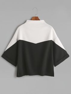 Shop Color Block Mock Neck Slit Side Cuffed T-shirt online. SheIn offers Color B… Shop Color Block Mock Neck Slit Side Cuffed T-shirt online. SheIn offers Color Block Mock Neck Slit Side Cuffed T-shirt & more to fit your fashionable needs. Black And White T Shirts, Black T Shirt, Black White, Mode Hijab, Mode Inspiration, Fashion Outfits, Womens Fashion, Mock Neck, Diy Clothes