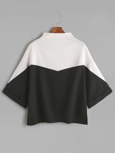 Romwe Color Block Mock Neck Slit Side Cuffed T-shirtone-size