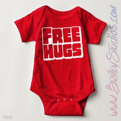 Free Hugs Infant Onesie, Funny One-Piece Bodysuit, Vintage Classic Kids Clothes, Retro Tee, Baby Shower Gift, Made To Order by BrileyStudios on Etsy https://www.etsy.com/listing/239610024/free-hugs-infant-onesie-funny-one-piece