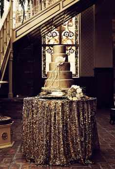 Gold Sequin Cake Table - Wedding Idea?