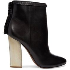 TORY BURCH   Bandelier fringed leather ankle boots ($315) ❤ liked on Polyvore featuring shoes, boots, ankle booties, fringe booties, high heel booties, short boots, leather booties and leather boots