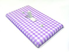 White Purple Gingham Light Switch Cover Children by ModernSwitch, $6.00
