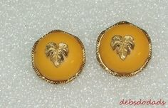 Fashion Goldtone Leaf Yellow Round Clip On Women's Earrings
