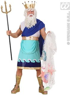 """"""" Command the attention of all the peasants and enter the party as Poseidon the God of the Sea! """"Make waves with this fancy dress costume and ooze drama. This pack includes the tunic, belt and crown."""