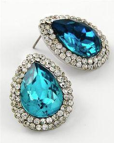 Vintage Inspired Blue Zircon Crystal Teardrop Earrings (Sparkle-442-U)