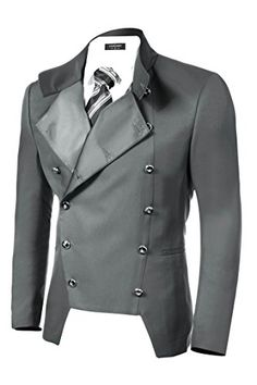 Coofandy Men's Casual Double-breasted Jacket Slim Fit Bla…
