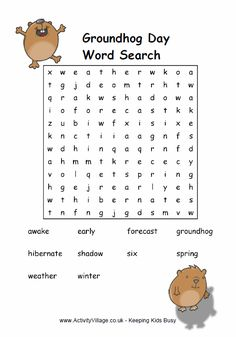 Groundhog Day word search puzzle -  Pinned by @PediaStaff – Please Visit http://ht.ly/63sNt for all our pediatric therapy pins