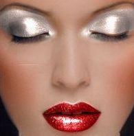 Perfect Red Lip! Amazing silver eye shadow.
