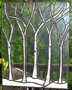 Image result for stained glass pattern of trees on a lake