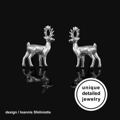 Deer Animal Stud Earrings made from 925 Sterling Silver. The perfect Christmas gift for her. You will love their delicate design! These cute earrings have a wonderful detailing and flawless 3D craftsmanship with my unique repousse technique. #animalearrings #animalstudearrings #deerjewelry #deerearringssilver #Christmasjewelry #Christmasearrings #giftforher #giftforgirlfriend