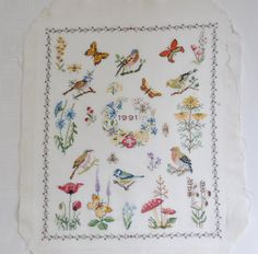 Finished / Completed Cross Stitch - Dutch Traditional Sampler 1991 Birds and Butterflys crossstitch counted cross stitch