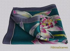 Lilies SILK Pocket Square Hand Painted Hanky by FilkinaScarves