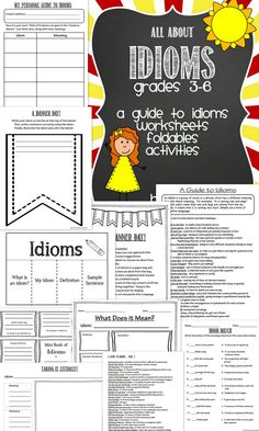 Idioms Unit:  All About Idioms - Grades 3-6.  A perfect way to teach and reinforce idioms in your classroom.  Fun for students and easy for teachers to use!  Simply print and go.  Includes a Student Guide to Idioms, Worksheets, Foldables, Activity, and more!  Can't wait to use this with my class!
