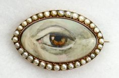 "Dramatic Victorian ""Lover's Eye"" Brooch-Water Color on Ivory"