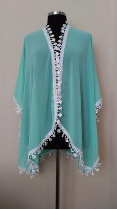 Breezy Beach Kimono Oversize cover up Resortwear Bridesmaid gift Turqouise  Embellished HandmadebyNadya