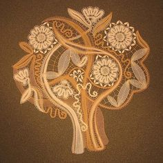 Our Lace Garden III - Special Lace 2007 - Just love this tree. Irish Crochet Patterns, Bobbin Lace Patterns, Crochet Tree, Freeform Crochet, Bobbin Lacemaking, Lace Art, Point Lace, Lace Jewelry, Needle Lace