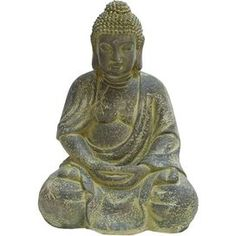 Sitting Buddha Decor in Antique Yellow