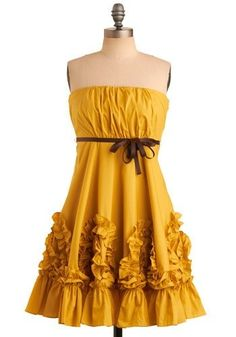 Mustard + Ruffles  = yellow, gorgeous! I'd want it to have WIDE shoulder straps.  A cute puff sleeve would be nice too.  Whatta color.