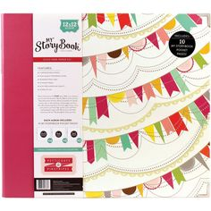 """My Story Book D-Ring Album Photo Journal 12""""x12"""" - Petticoats & Pinstripes Girl Pennant"""