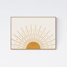 Printable art is one of the most affordable, quick and easy ways to transform your space. We Create Prints offers bohemian, modern, mid-century, and Art Soleil, Art Minimaliste, Minimal Art, Art Decor, Decoration, Decor Ideas, Sun Art, Modern Wall Art, Wall Art Boho