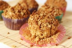 Applesauce Oatmeal Muffins- These are very moist!  Be sure you push down the topping - it falls all over unless you do (and you do not want to miss it!).  Awesome.  I used wheat flour and my homemade applesauce.