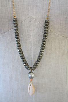 Handmade Pyrite Bead Necklace with Black Tahitian Pearl, Gold Filled Chain and Handpicked Cone Shell