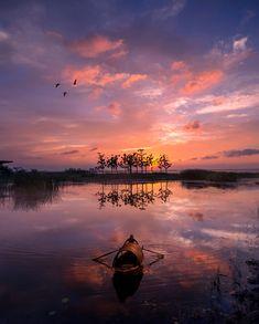 Sun set on Yancheng Lake - 阳澄湖大闸蟹的原产地