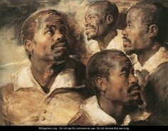 Four Studies of the Head of a Negro - Peter Paul Rubens ~ 1617 ~ Musees Royaux des Beaux-Arts, Brussels