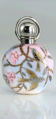 Antique Porcelain Scent Perfume Bottle With Silver And Gold Gilt Birds - Probably English   c.1890-1900