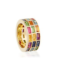 18k fair trade gold and gemstone rotating Rubix Ring by Hattie Rickards.