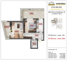 Apartamente de vanzare Mihai Bravu Residence 10 -2 camere tip C+b Floor Plans, Floor Plan Drawing, House Floor Plans
