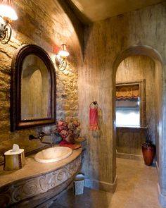 Powder room with an old world feel