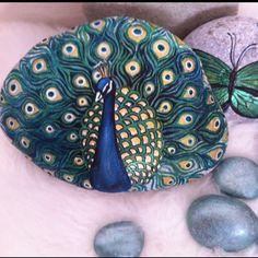 Stone Art Painting, Rock Painting Designs, Pebble Painting, Pebble Art, Painted River Rocks, Hand Painted Rocks, Painted Pebbles, Peacock Painting, Peacock Art